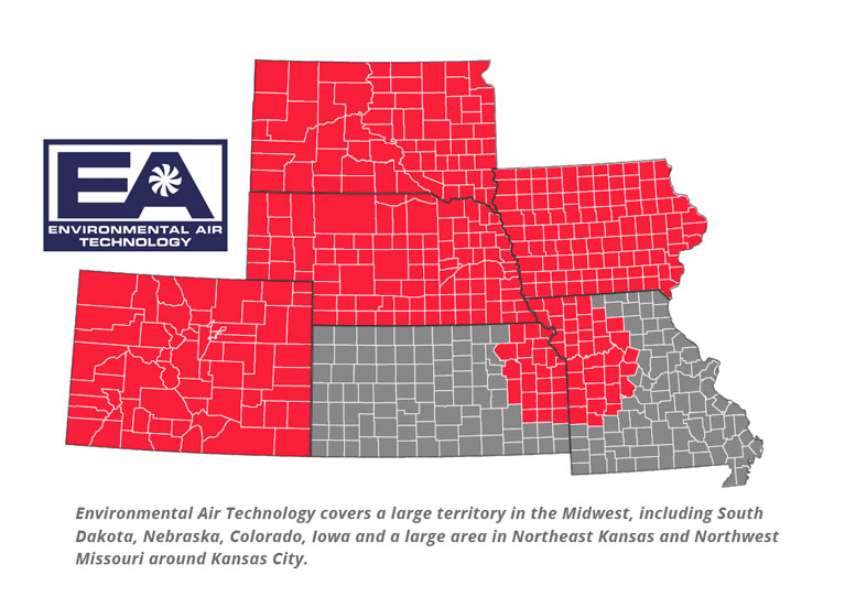 Environmental Air serves Nebraska, Iowa, South Dakota, Colorado, Kansas and Missouri.